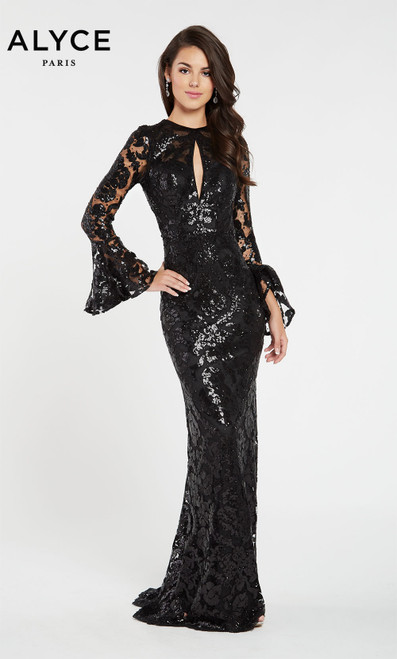 Formal Dress: 60478. Long, High Neck, Straight, Keyhole Back