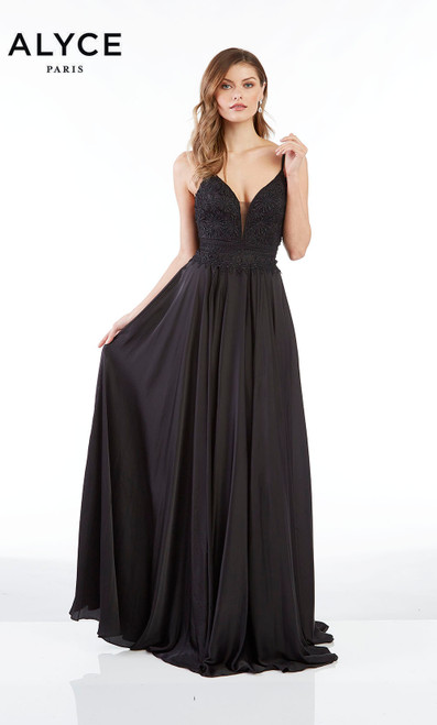Formal Dress: 60462. Long, V-Neck, Flowy, Open Back