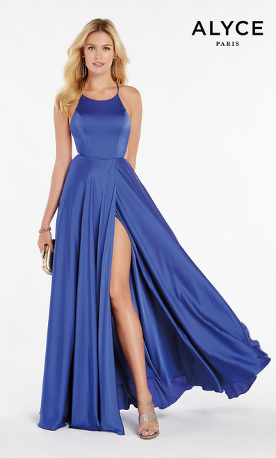 Formal Dress: 60459. Long, Halter, Flowy, Strappy Back
