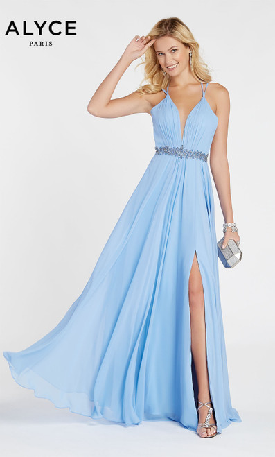 Formal Dress: 60455. Long, V-Neck, Flowy, Strappy Back