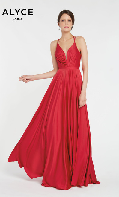 Formal Dress: 60449. Long, V-Neck, Flowy, Strappy Back
