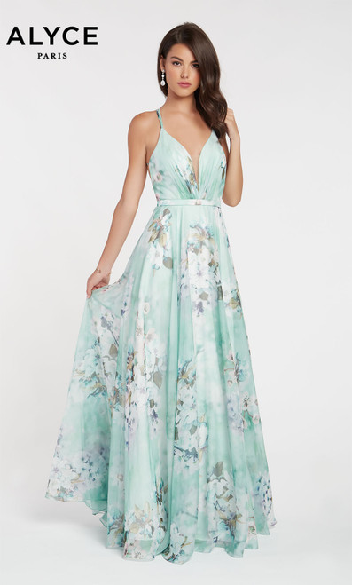 Formal Dress: 60440. Long, V-Neck, Flowy, Keyhole Back