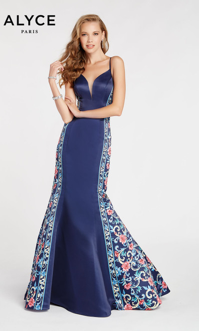 Formal Dress: 60419. Long, V-Neck, Mermaid, V Shaped Back