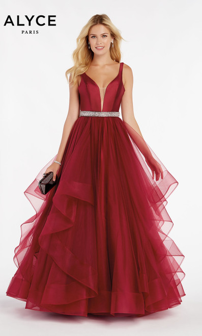 Formal Dress: 60388. Long, V-Neck, Medium Fullness