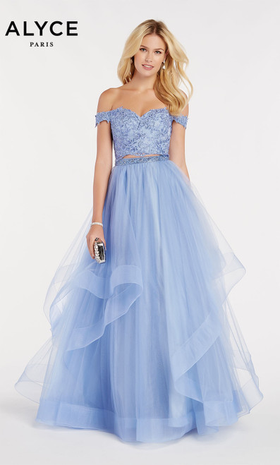 Formal Dress: 60373. Long, Off The Shoulder, Medium Fullness
