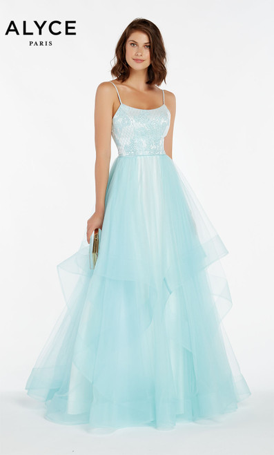 Formal Dress: 60359. Long, Square Neckline, Medium Fullness
