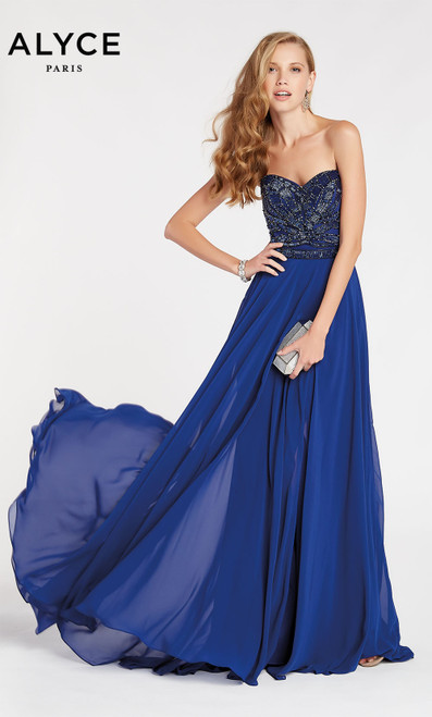 Formal Dress: 60350. Long, Sweetheart Neckline, Flowy