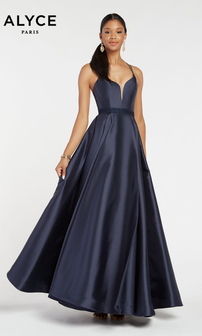 Formal Dress: 60345. Long, V-Neck, Medium Fullness