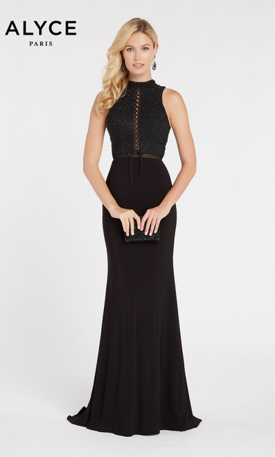 Formal Dress: 60320. Long, High Neck, Straight, Keyhole Back