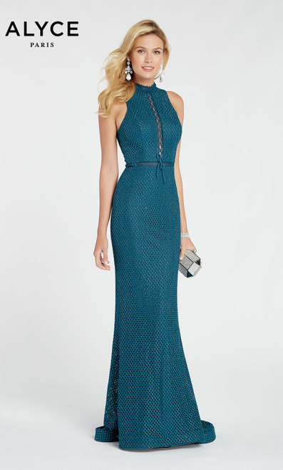 Formal Dress: 60318. Long, High Neck, Straight, Keyhole Back