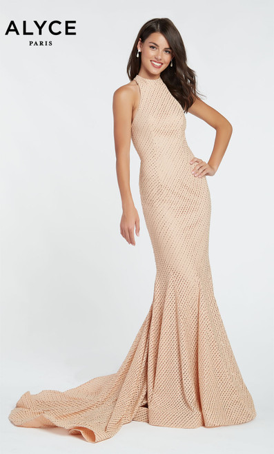 Formal Dress: 60317. Long, V-Neck, Straight, V Shaped Back