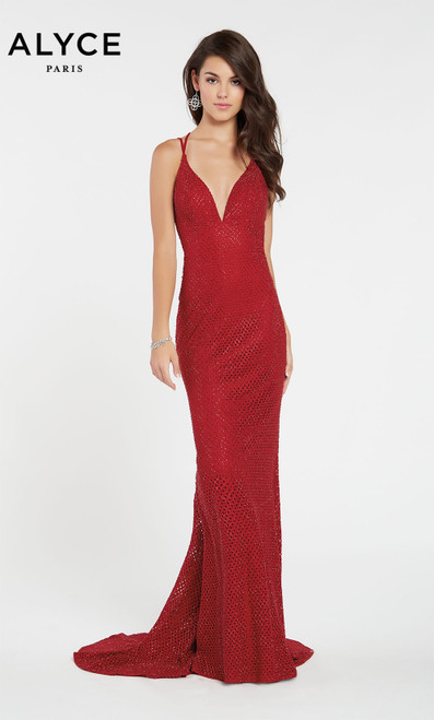 Formal Dress: 60316. Long, V-Neck, Straight, Strappy Back