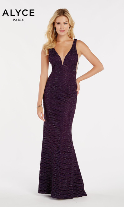 Formal Dress: 60314. Long, V-Neck, Straight, V Shaped Back
