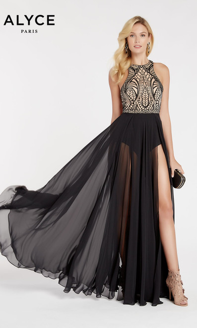 Formal Dress: 60310. Long, Halter, Flowy, Racer Back