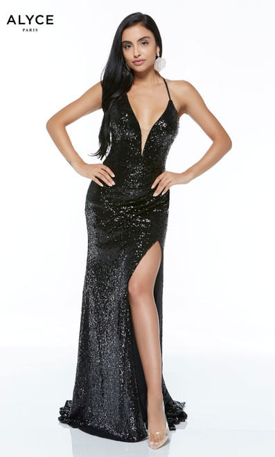 Formal Dress: 60304. Long, V-Neck, Straight, Lace Up Back