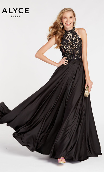 Formal Dress: 60298. Long, Halter, Flowy, Strappy Back
