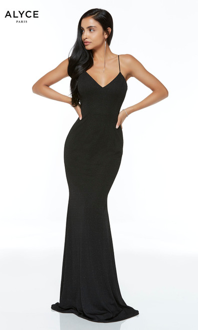Formal Dress: 60292. Long, V-Neck, Straight, Open Back