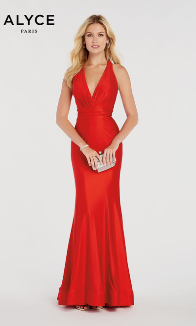 Formal Dress: 60285. Long, Halter, Mermaid, Strappy Back