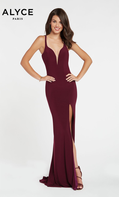 Formal Dress: 60282. Long, Plunging Neckline, Straight