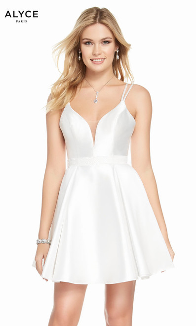 Alyce 1453 short fit and flare mikado dress with a v-neckline and pockets
