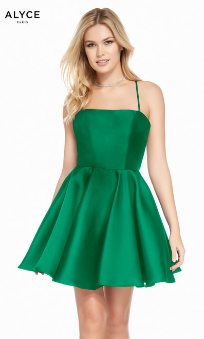 Alyce 1455 short fit and flare mikado dress with a square neckline and pockets