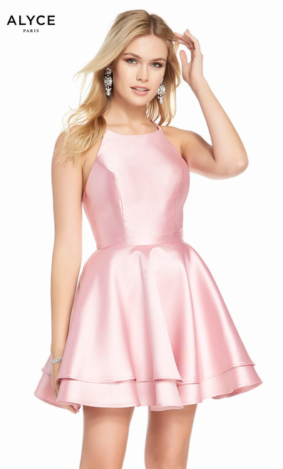 Alyce 1457 short fit and flare mikado dress with a high neck and layered skirt