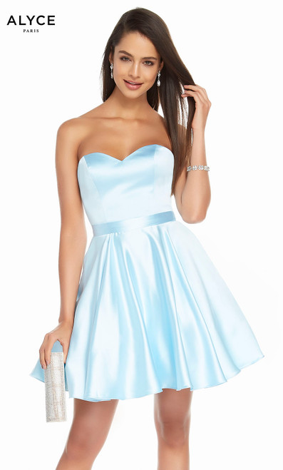 Alyce 1461 short fit and flare luminous satin strapless dress with pockets