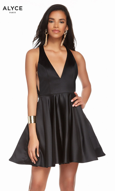 Alyce 1465 short fit and flare luminous satin dress with a halter neck and pockets