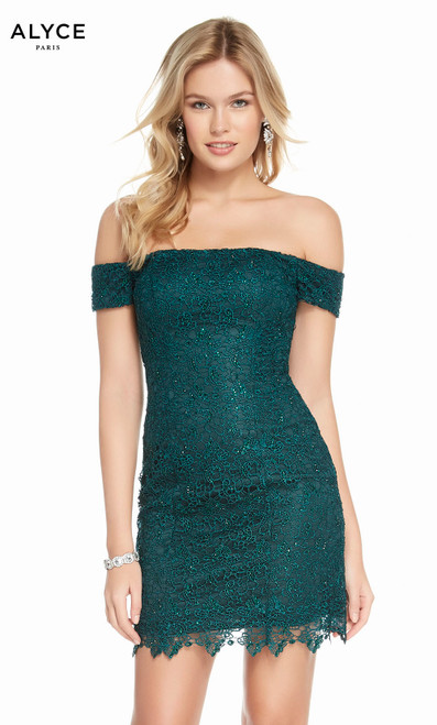 Alyce 1474 short laced off the shoulder dress