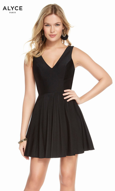 Alyce 1478 short fit and flare power jersey dress with a v-neckline