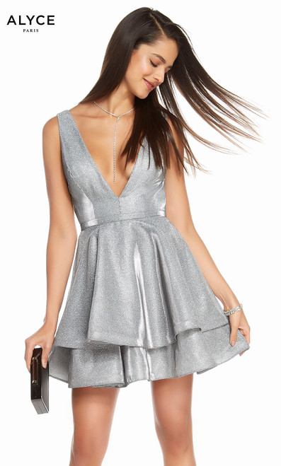 Alyce 1481 short fit and flare cracked ice taffeta dress with a plunging neckline and layered skirt