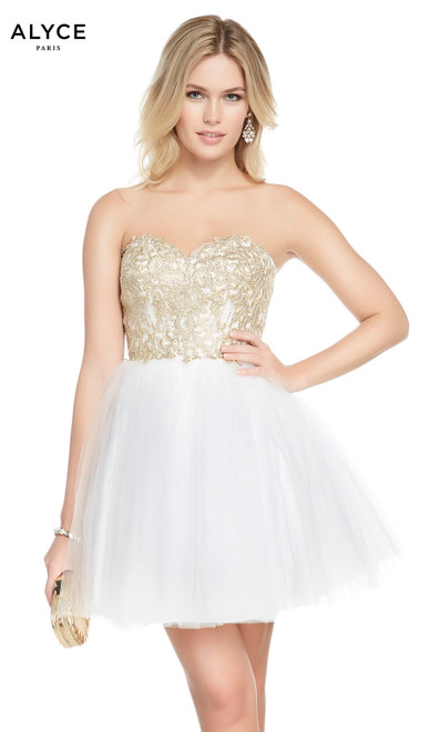 Alyce 1486 short fit and flare tulle-lace dress, strapless with a laced bodice