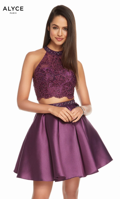 Alyce 1488 short fit and flare lace-mikado dress with a high neck, beaded waist and pockets
