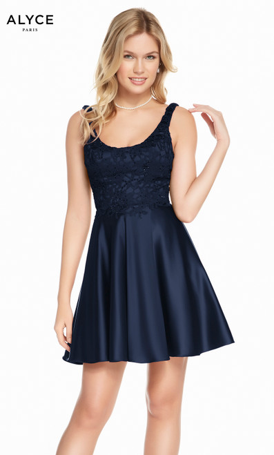 Alyce 3822 short fit and flare lace-satin dress with a scoop necklace and pockets