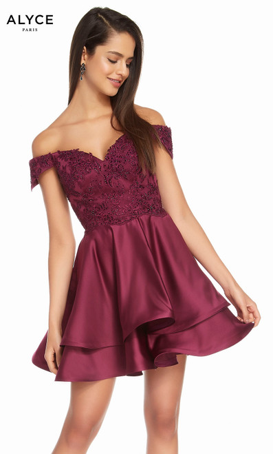 Alyce 3828 short fit and flare lace-lux silk satin dress, off the shoulder with a laced bodice and layered skirt with pockets