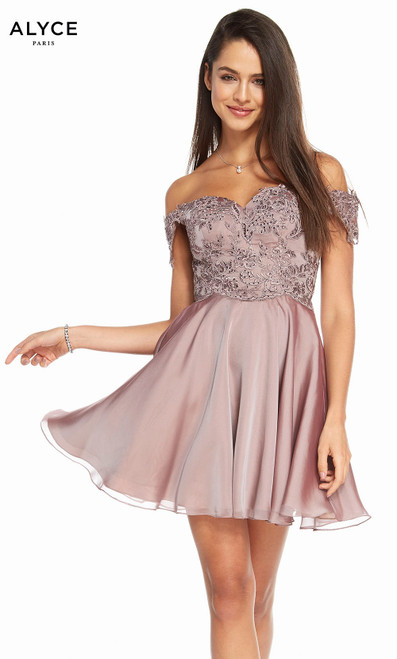 Alyce 3830 short fit and flare iridescent silky chiffon dress, off the shoulder with an embroidered top
