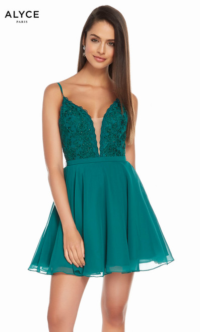 Alyce 3832 short fit and flare chiffon-lace dress with a plunging neckline and laced bodice