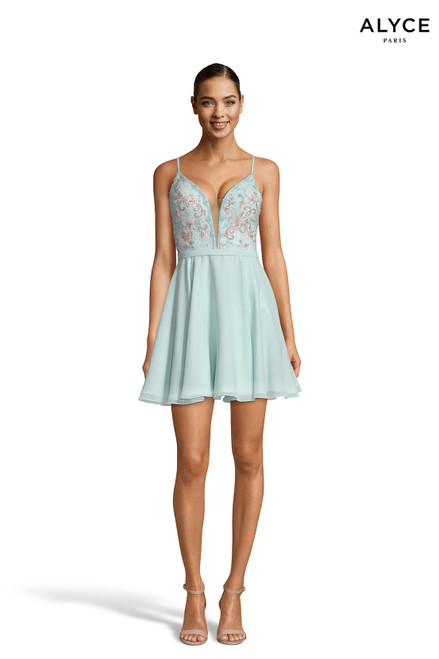 Alyce 3834 short fit and flare chiffon-lace dress with a v-neck and embellished bodice