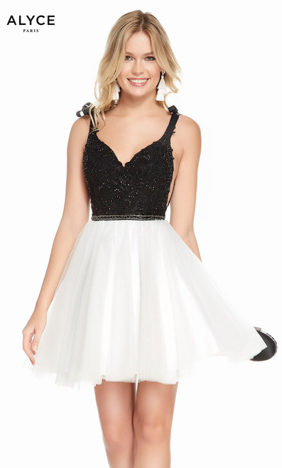 Alyce 3843 short fit and flare beaded lace-tulle dress with a v-neck, beaded top and waist sheer side cutout