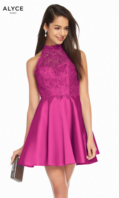 Alyce 3847 short fit and flare mikado-lace dress with a halter lace bodice and pockets