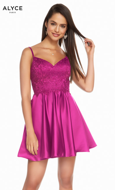 Alyce 3848 short fit and flare lux silk satin-lace dress with a v-necklace bodice and pockets
