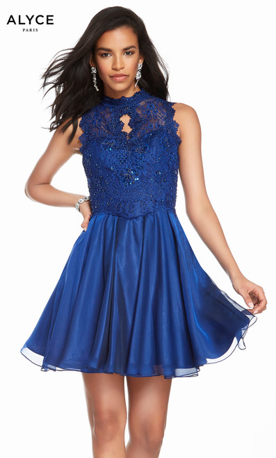 Alyce 3850 short fit and flare chiffon-lace dress with a high neck, embellished bodice and pockets