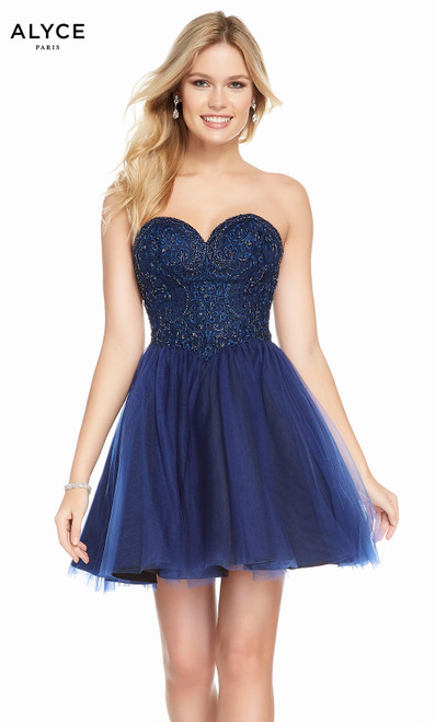 Alyce 3855 short fit and flare tulle-embroidered dress with a strapless embellished bodice