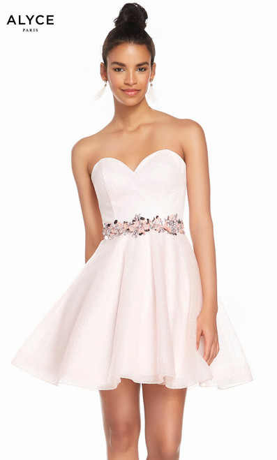 Alyce 3856 short fit and flare sparkle tulle dress, strapless neckline and beaded waist