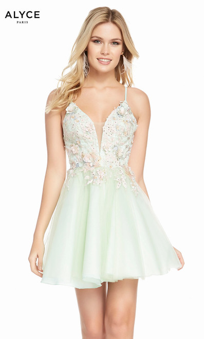 Alyce 3862 short fit and flare tulle-embroidered dress with a plunging neckline and embroidered lace top
