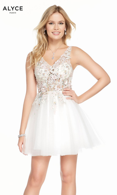 Alyce 3863 short fit and flare tulle-embroidered dress with a v-neck and embellished bodice