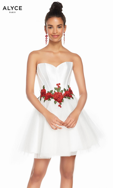 Alyce 3867 short fit and flare tulle-mikado-lace strapless dress with a beaded waist corset bodice