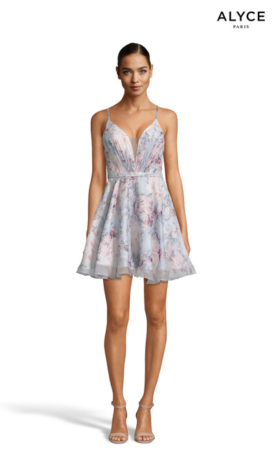 Alyce 3868 short fit and flare chiffon print dress with a plunging neckline
