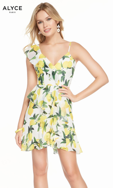 Alyce 3869 short fit and flare chiffon print dress with a v-neck and layered skirt