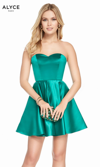 Alyce 3871 short fit and flare luxe silk satin dress, strapless with pockets